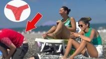 Реакция девушек на парня идущего по пляжу в стрингах
