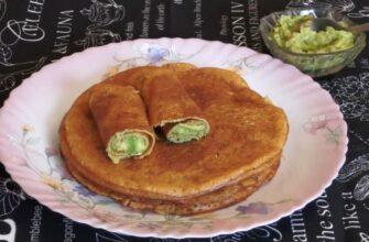 Постные Лепешки (блины) из нутовой муки без глютена, с начинкой из авокадо