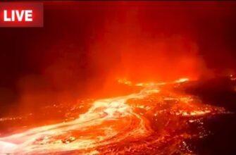 Извержение вулкана Ньирагонго в Конго в Африке
