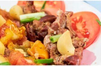 Рецепт из куриных желудочков с овощами в духовке