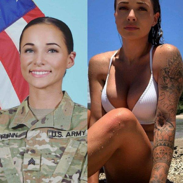 Девушки в армии и на гражданке (9 фото)