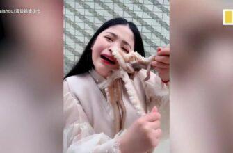 Решила съесть живого осьминога и вот результат...