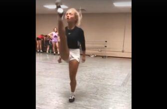 Девушка продемонстрировала свои танцевальные навыки