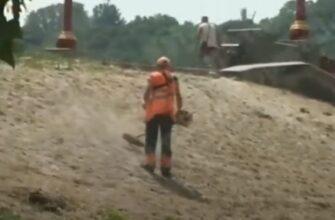 В Киеве нет травы поэтому косят песок