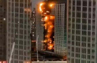 Огонь поглотил весь небоскреб в Китае