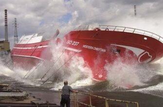 Самые опасные спуски больших кораблей на воду