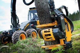 Современные машины для валки деревьев с большим вылетом (Видео)