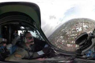 Центр города с обзором 360 ° из кабины самолета