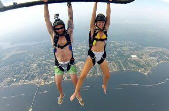 Эффектные прыжки с парашютом на вертолете